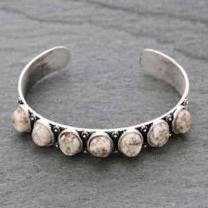 "Natural White Stone ""C"" Cuff Bracelet"